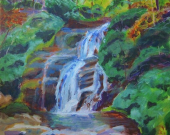 Waterfall art, Mountain waterfall scene, Helton Creek Upper Falls, Georgia mountain scene, 16x16, by Shirley Lowe, mountain house art