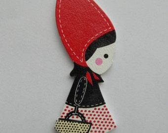 Hölzerne Mädchen Little Red Riding Hood-Anhänger, 90 mm x 29 mm