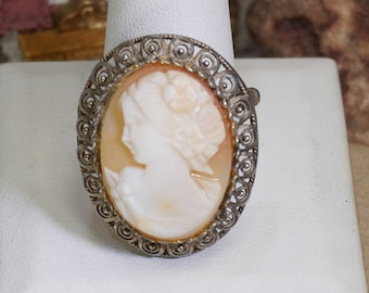 Carved Shell Cameo Brooch Pin In Sterling Design Mount