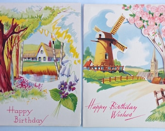 Vintage Birthday Cards 1940's/1950's - Pack of 2 Unused Greetings Cards - Happy Birthday Cut Out Cards, Windmill and Church, Thatched House
