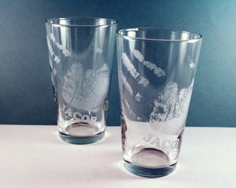 2 Handprint Pint Glasses - etched with your child's actual handprint - Great Father's Day gift