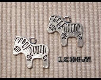 * ¤ Set of 2 pendants charms * Zebra * silver - 20x17mm ¤ * #PC23