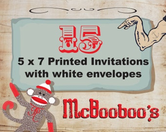 "15 high quality 110lb weight 5"" x 7"" invitations with standard white envelopes."