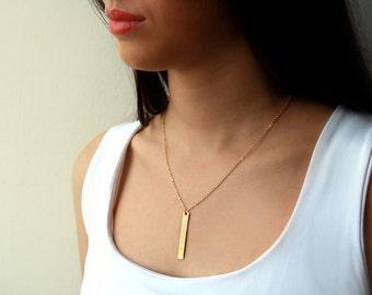 Gold Pendant Necklace, Gold Bar necklace, unique necklace, 14k necklace,