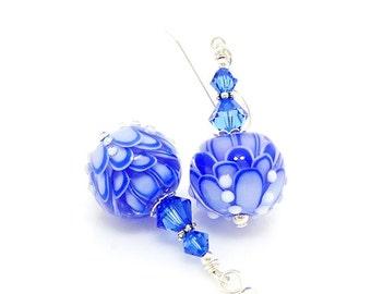 Blue Earrings, Glass Earrings, Lampwork Earrings, Glass Beads Jewelry, Beadwork Earrings, Unique Earrings, Lampwork Jewelry, Lotus Flower