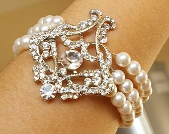 Art Deco Bridal Bracelet, Pearl Wedding Bracelet Cuff, Vintage Wedding Jewelry, Great Gatsby Jewelry, Ivory White Pearl Bracelet, ALESSANDRA