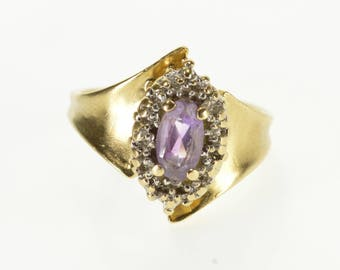 10k Amethyst* Diamond Texture Halo Concave Curved Ring Gold