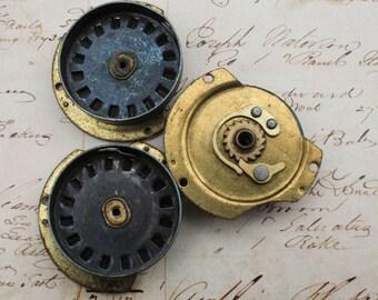 3 Clock Main Spring Case Bezel Vintage Ephemera Clock Parts