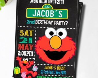 Elmo Invitation  / Elmo Birthday Invitation / Sesame Street Invitation / Elmo Birthday / Elmo Invite / Elmo Party
