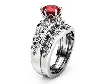 Red Diamond Engagement Ring-1.23 carat Fancy Deep Red Diamond Ring