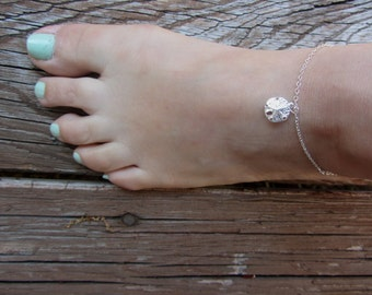 Sand Dollar Anklet, Anklet for Women, Beachy Anklet, Sterling Silver Ankle Bracelet, Mothers Day Gift, Silver Anklets, charms, graduation