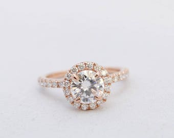 Halo Engagement Ring, Moissanite Ring, Gold Engagement Ring, Wedding Ring, Diamond Ring, Rose Gold Ring