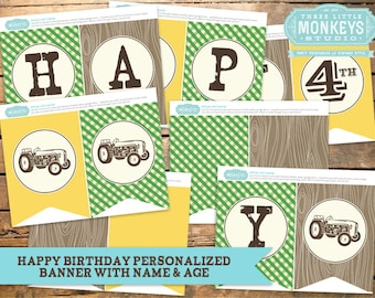 Personalized Vintage Tractor Bash Birthday Banner