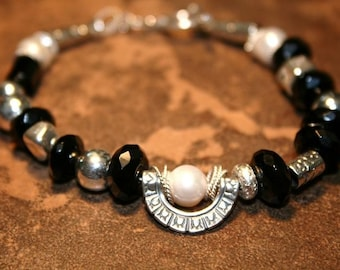 Romanesque Onyx and Sterling Bracelet