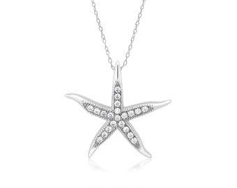 Rhodium plated Sterling Silver Starfish w/CZ pendant.