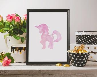 Unicorn Watercolor Wall Art, A3, Art Decor, Cheap Digital Printable