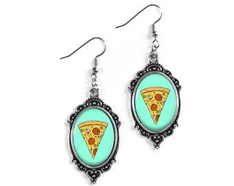 Retro Pizza 18x25mm Cameo Glass Silver Filigree Earrings