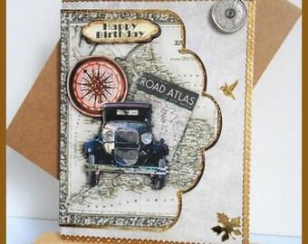 men 'Road Atlas' birthday card