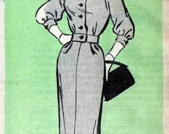 Anne Adams 4725 High Class Secretary Dress 1950's / SZS14 FACTORY FOLDS