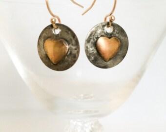 Mélangé les boucles d'oreilles coeur en métal - cuivre laiton boucles d'oreilles - Boucles d'oreilles coeur rustique - coeur or boucles d'oreilles coeur - boucles d'oreilles coeur en métal rustique