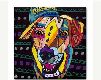 SALE NOW- Ceramic Tile  Labrador Retriever art Tile Ceramic Coaster  Folk Art Print of painting by Heather Galler dog (HG910)