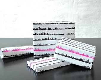 34C Gift Wrap, Wrapping paper with 34 Skylines, iconic skyline design, wrap the world around, stylish gift box wrapping, 4 sheets 50 x70 cm