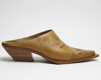 90s leather tan southwestern structural wood heel avant garde mules clogs US 6
