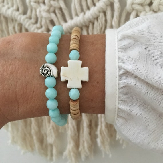 beach bracelets, boho jewelry, beachy mermaid