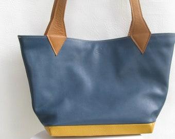 Tri-color leather tote bag