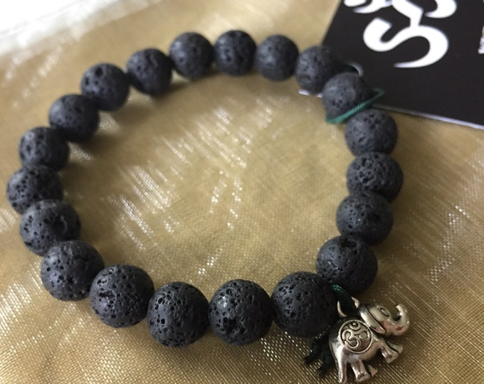 Lava Bead + Om Elephant | Essential Oil Diffuser | Spiritual Junkies | Stackable | Mala Bracelet | Yoga + Meditation