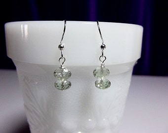 Green Amethyst Drop Earrings, Mom Sister Grandmother Bridesmaid Jewelry Gift, Sterling Silver, Simple, Pretty