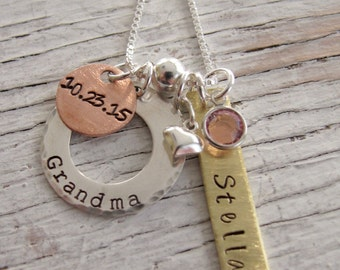 Personalized Grandmother's Necklace, Family Jewelry, Mother's Day Gift, Hand Stamped Jewelry, Mother Necklace, Mixed Metals