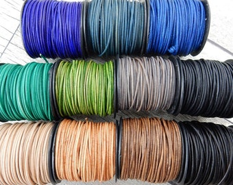 Natural Dye Leather Cords, Qty 4 Yards, 2mm Round Cording Orange, Brown, Turquoise Green, Gray Black Violet Pacific Blue, Leather Wrap Cords