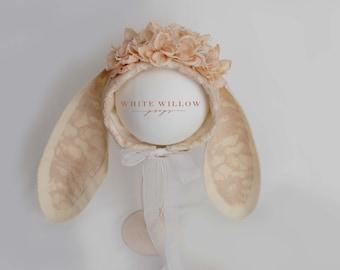 Vintage bunny flower bonnet - floral headpiece - Sitter Photo Prop - sitter bunny bonnet - beige - lace bunny hat - UK seller