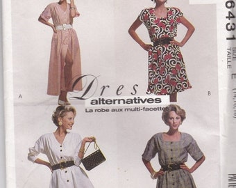 ON SALE 1990s McCalls Sewing Pattern No 6431 for Misses Dress, Tunic, Skirt Size 14-18 (36-40 inch bust) Uncut, Factory Folded