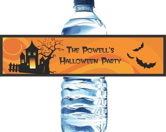 Halloween Water Bottle Labels - Water Labels - Custom Water Bottle Labels - Waterproof Water Bottle Labels