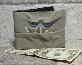 Leather Wallet Monster Face Fantasy Magic The Gathering Horror World Of Warcraft  Fathers Day Gift Gray 546