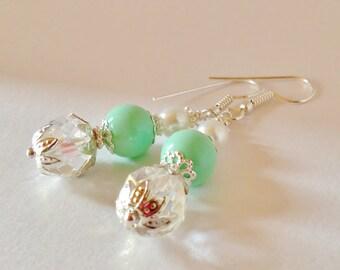Mint Green Wedding Earrings Green Pearl Jewelry Wedding Earrings Bridesmaid Gift Jewelry Set Crystal Bridal Earrings Mint Green Pearl