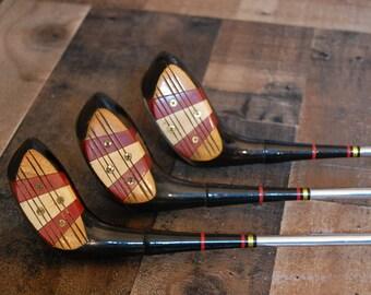 Vintage Wood Golf Clubs, vintage H & R Louisville Slugger 1, 3 and 4 , vintage golf club wood drivers, leather handles, vintage 1960's clubs