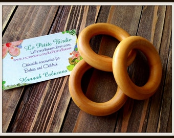 3 Organic Maple Wood Rings - Finished Beeswax Teething Rings for Baby