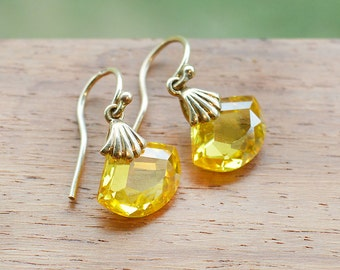 9ct Gold Yellow Topaz Earrings fine crystal simple drop november birthstone jewelry