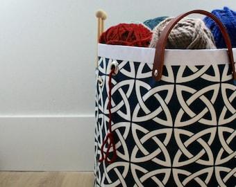 Knitting Tote, Knitting basket, Knitting bag, Celtic Knots in Oxford Blue