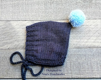 Knit Navy Pixie Bonnet Pom Pom Hat For Fall and Winter Chunky available, Baby Bonnets, baby shower gift, Bonnet Kids apparel, newborn hats