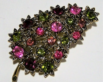 Multi Color Rhinestone Leaf Pin, Pink Purple Olive Green Glass Stones, Antiqued Gold Tone Brooch , Mid Century Jewelry 917