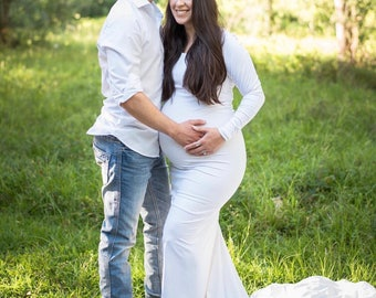 White Jersey Long Sleeves Slim fit Maternity Gown, Maternity Dress, Maternity Wedding Gown, Wedding dress