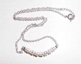 White Freshwater Pearls and Sterling Silver Bar Necklace - Pearl, Birthstone for June - Cultured Pearls - Gift for Her
