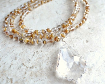 Monaco- Clear Brown Glass Pendant Long Statement Necklace