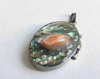 vintage sterling and abalone blister pearl pendant