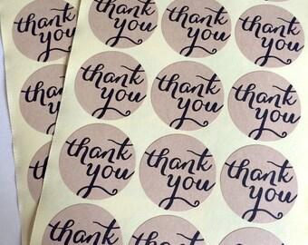 30 kraft thank you sticker - calligraphy thank you label - wedding round thank you favor sticker - wedding favors - envelope seals - circle