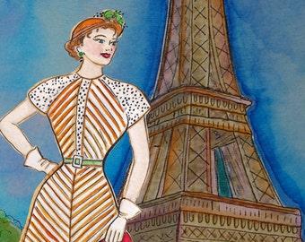 Jadore Vintage Paris - Aquarell-Malerei-Print